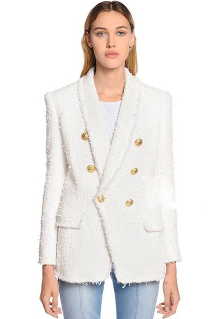 White Tweed Long Double Breasted Blazer