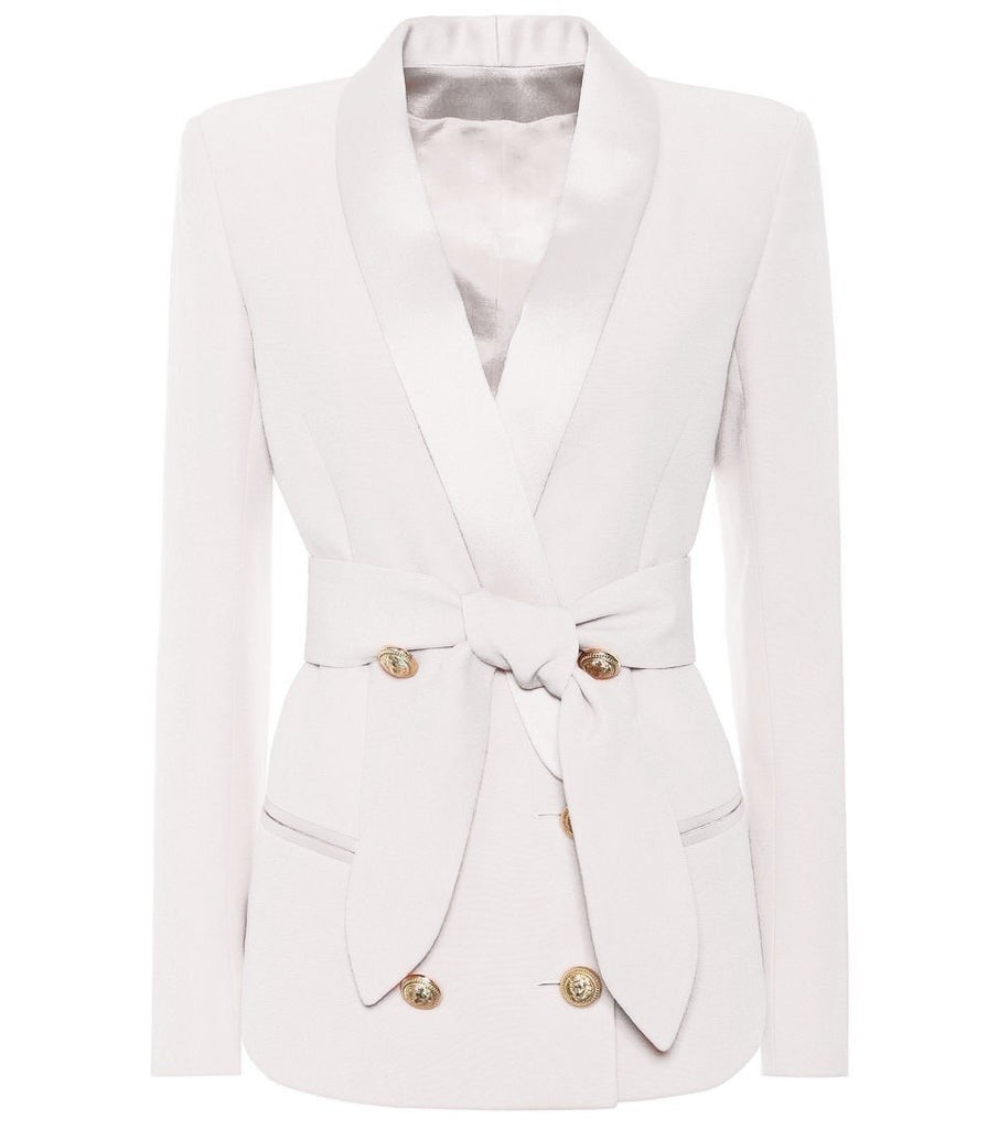 Belted Double Breasted Gold Button Blazer