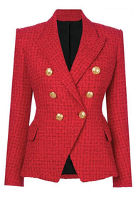 Alyssa Red Tweed Gold Button Blazer