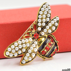 Queen Bee Swarovski Crystal & Ruby Pearl Brooch