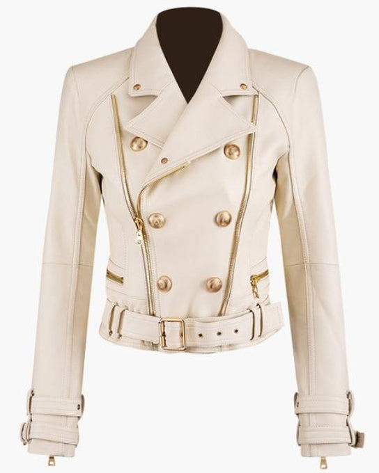 Runway Off-White Leather Gold Button Biker Jacket (PRE-ORDER)
