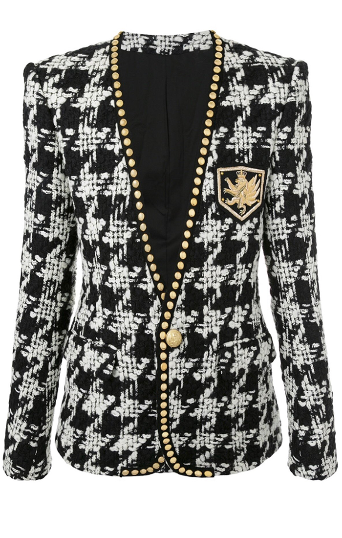 Houndstooth Studded Gold Button Tweed Blazer