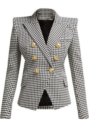 Houndstooth Double Breasted Gold Button Blazer