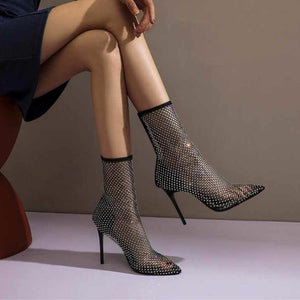 Juliana Crystal Rhinestone Mesh Sock Boots