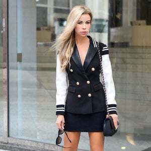 Olivia Varsity Double Breasted Gold Button Blazer