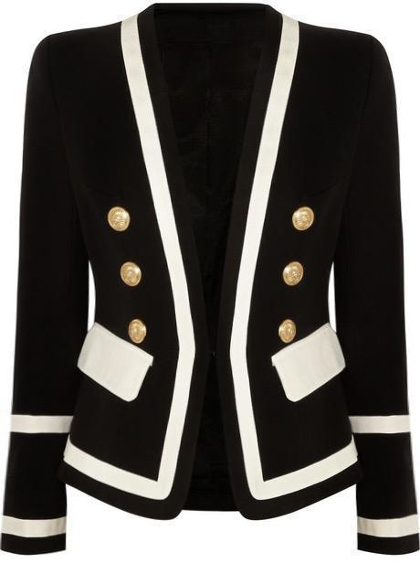 Black & White Double Breasted Gold Button Blazer - LIMITED EDITION