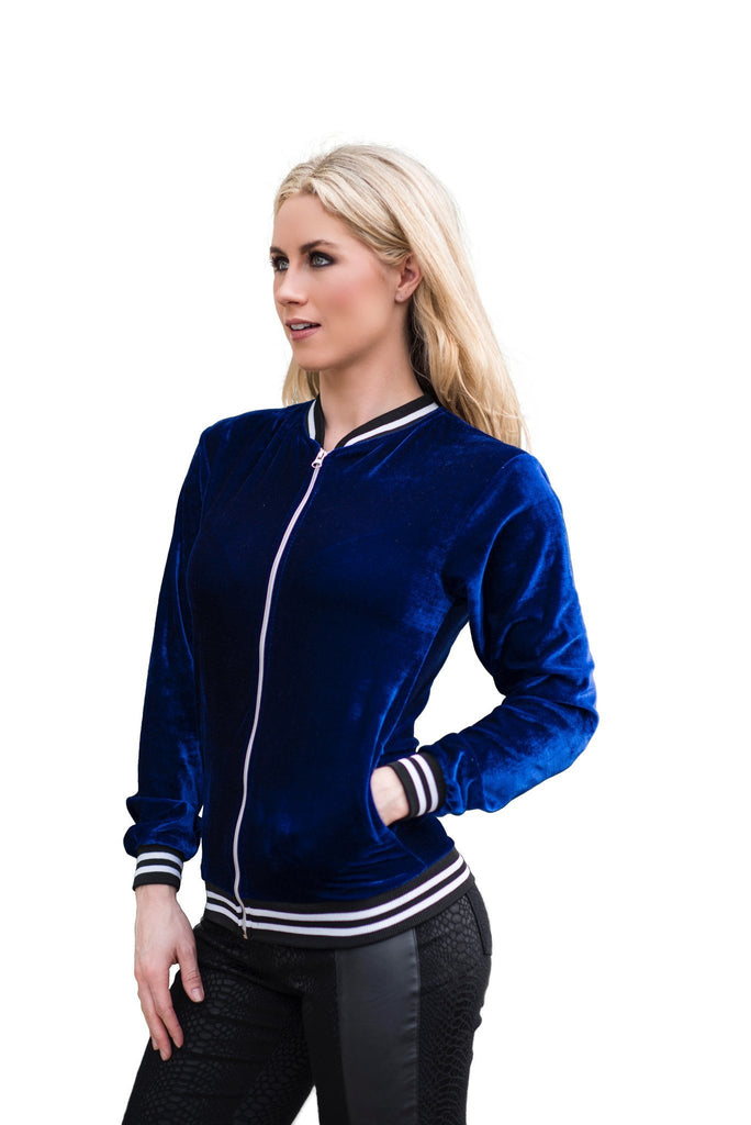 Karl Who Velvet Varsity Embroidered Bomber Jacket