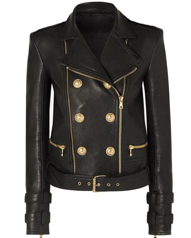 Runway Black Leather Gold Button Biker Jacket