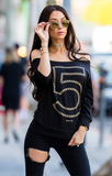 N°5 Metallic Gold Chain Off The Shoulder Sweater