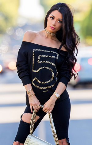Metallic Gold Chain Off The Shoulder Sweater #5