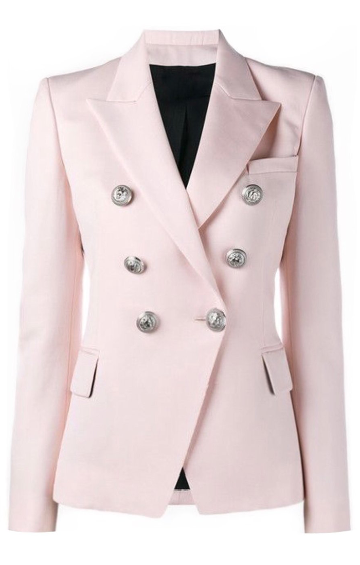 Double Breasted Silver Button Blazer - Blush Pink