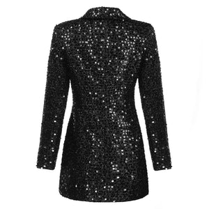 Runway Black Sequin Blazer Dress