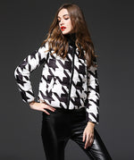 Runway Houndstooth Down Jacket