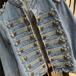 Cropped Denim Military Jacket