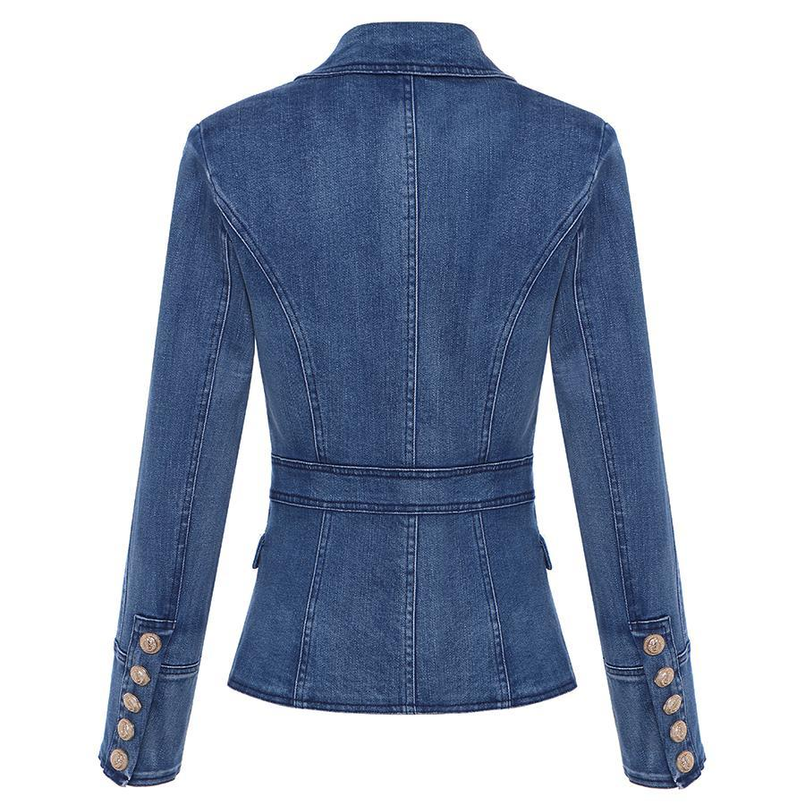Denim Double Breasted Gold Button Blazer