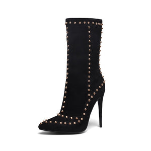 Gold Studded Suede Ankle Boots