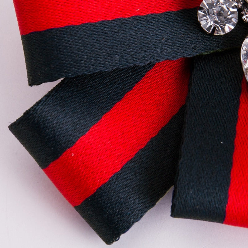 Red & Navy Striped Crystal Bow Brooch