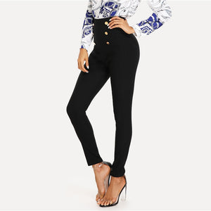 Black High Waisted Gold Button Skinny Pants