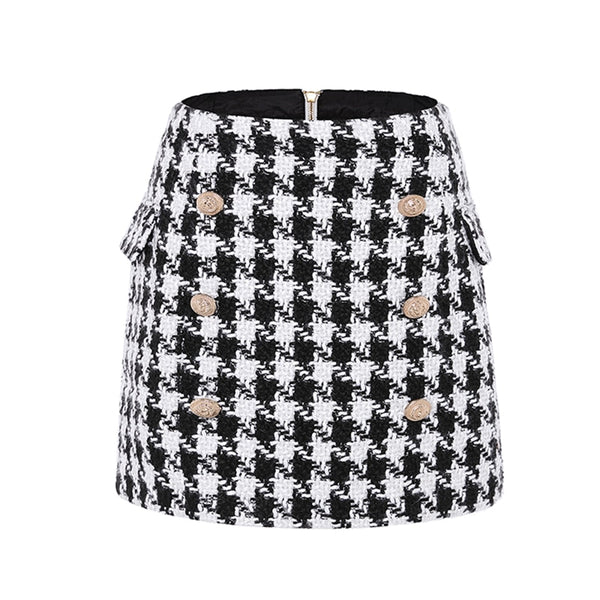 Houndstooth Tweed Gold Button Skirt