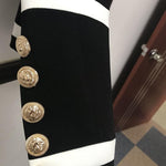 Black & White Double Breasted Gold Button Blazer