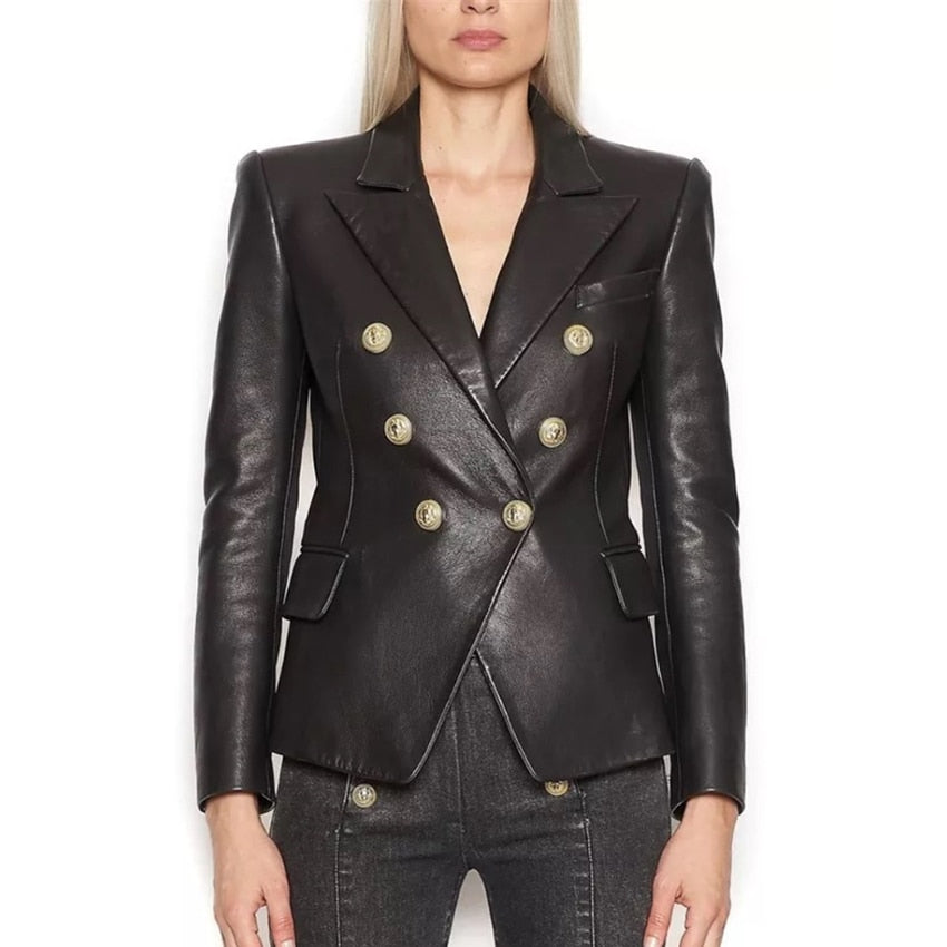 Leather Gold Button Blazer - LIMITED EDITION