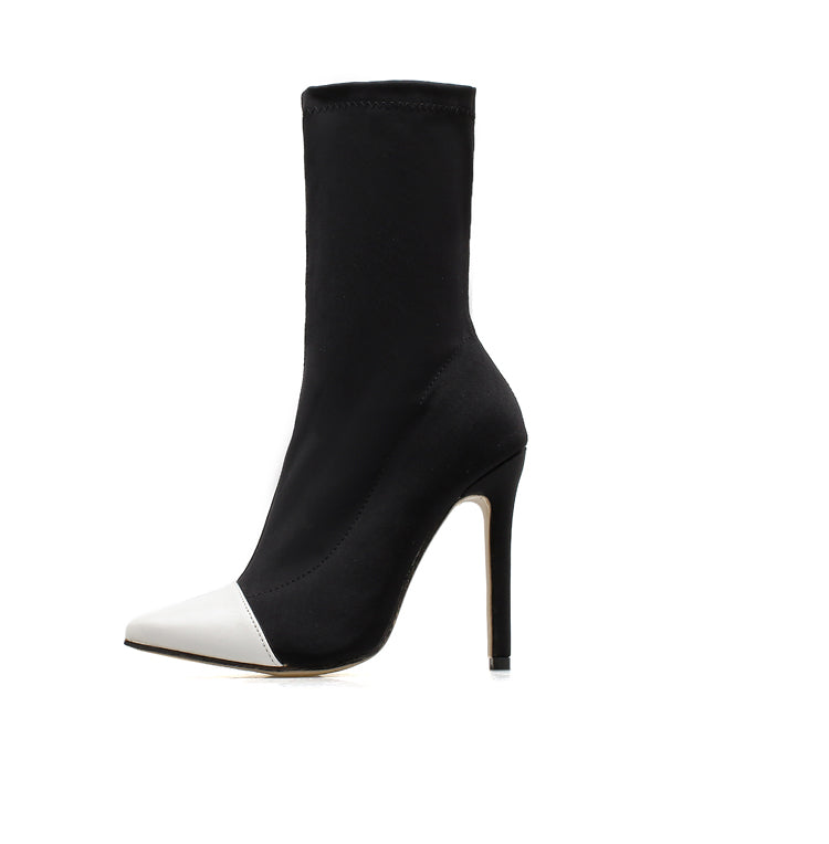 """ZOE"" Black & White Ankle Boots"