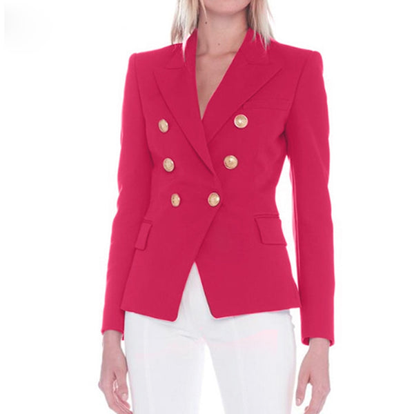 Double Breasted Gold Button Blazer - Hot Pink