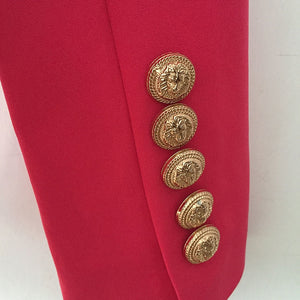 Hot Pink Double Breasted Gold Button Blazer
