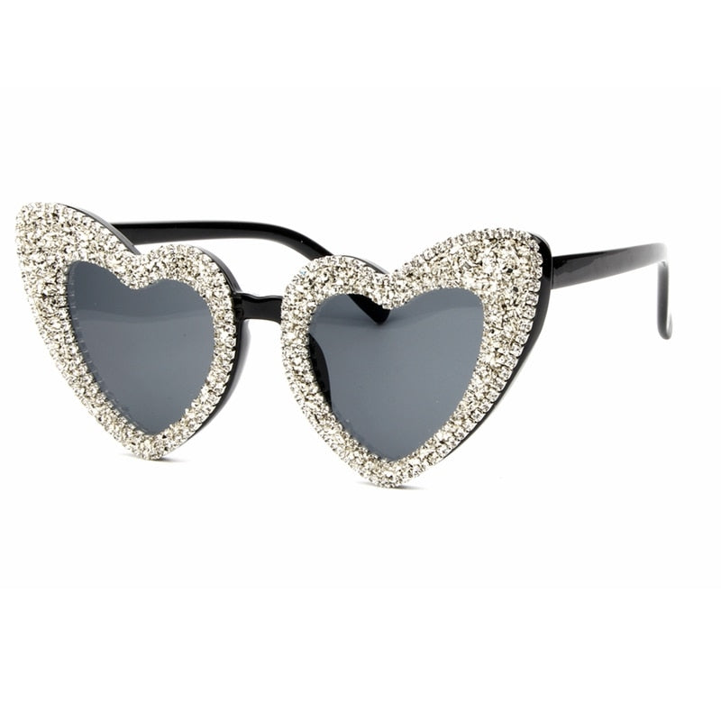 """Khloe"" Swarovski Crystal Heart Framed Sunglasses"