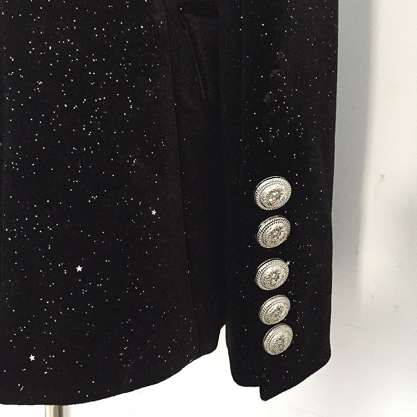 Starry Night Black Velvet Silver Button Blazer