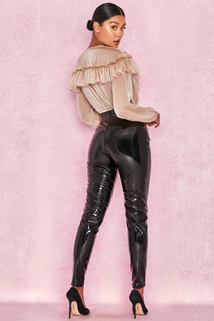 Lace Up Patent Leather Pants