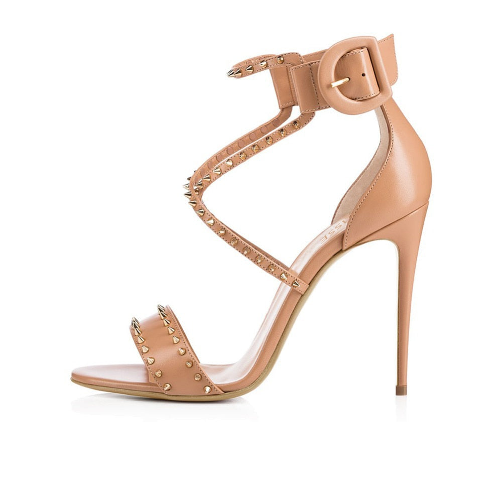 """Alyssa"" Strappy Spiked Buckle Heel"