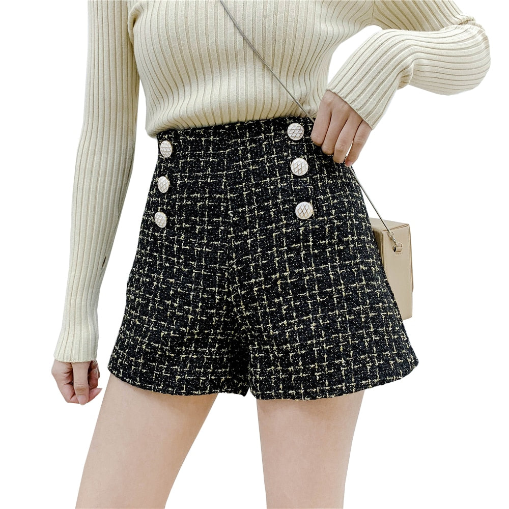 High Waist Tweed Shorts