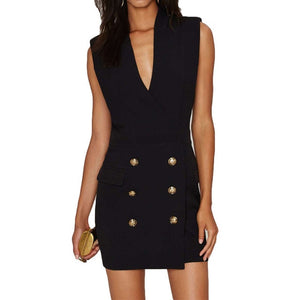 V-Neck Sleveless Gold Button Dress