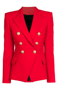 Double Breasted Gold Button Blazer - Red