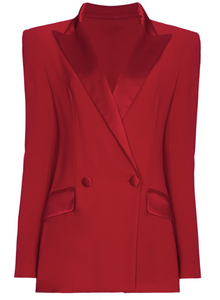 Red Satin Blazer Mini-Dress