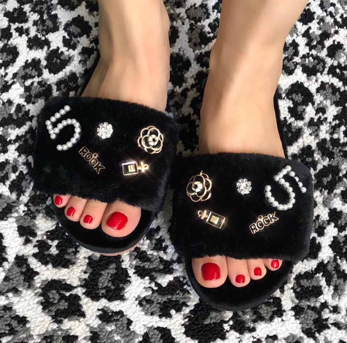 COCO N°5 Swarovski Pearl Beaded Faux-Fur Slides