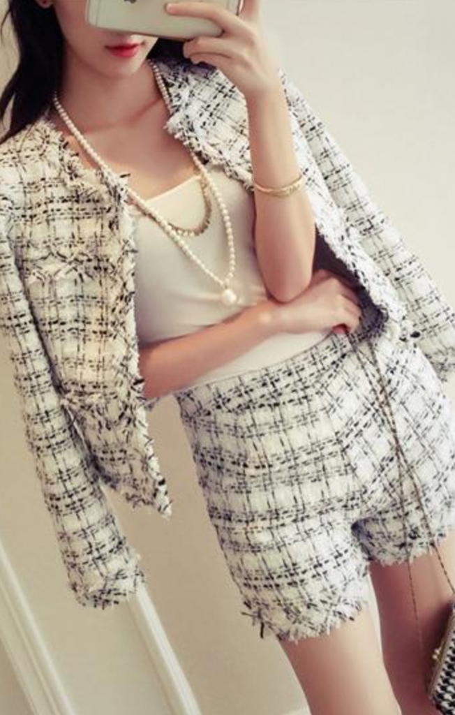 """Gabriella"" Tweed 2 Piece Set - Blazer & Shorts"