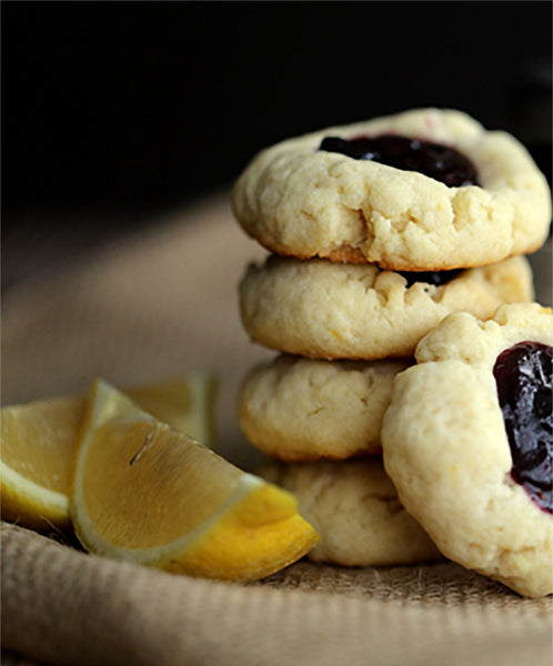 Blueberry Lemon Ginger Thumbprint Cookies