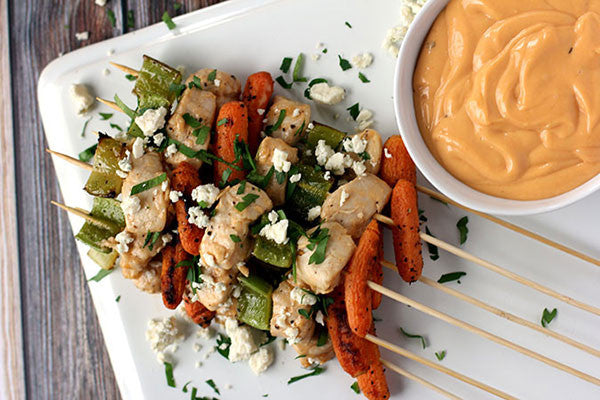 Buffalo Blue Cheese Chicken Skewers