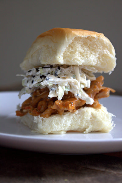Coconut Chicken Chili Sliders with Sesame Slaw