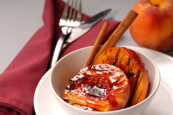Grilled Peaches with Red Raspberry Sauce