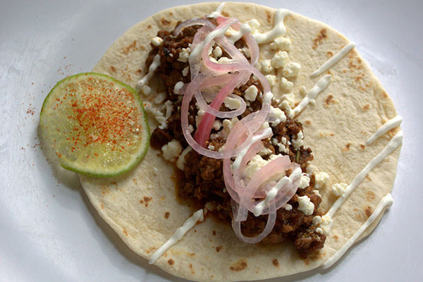 Tacos with Feta & Pickled Onions
