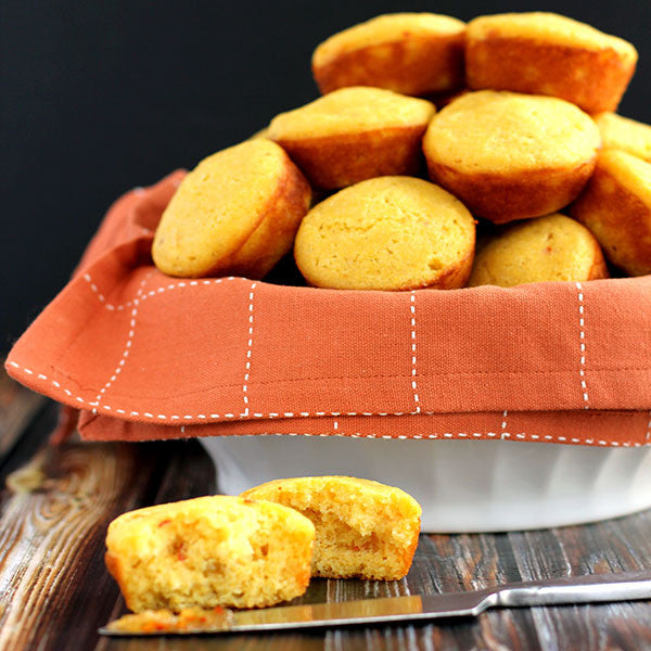 Hot Pepper and Peach Cornbread Muffins