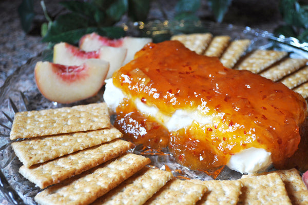 Hot Pepper Peach Preserves with Cream Cheese