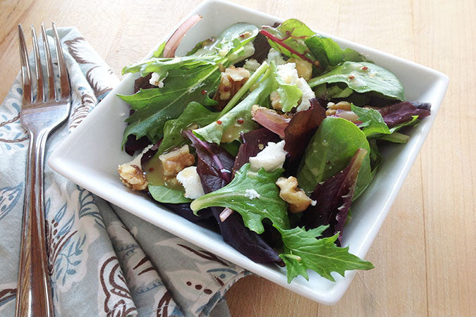 Mixed Green Salad with Raspberry Honey Mustard Vinaigrette