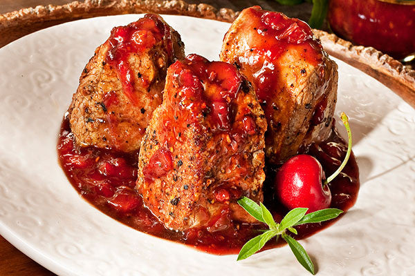 Pork Medallions with Cherry Pomegranate Pan Sauce