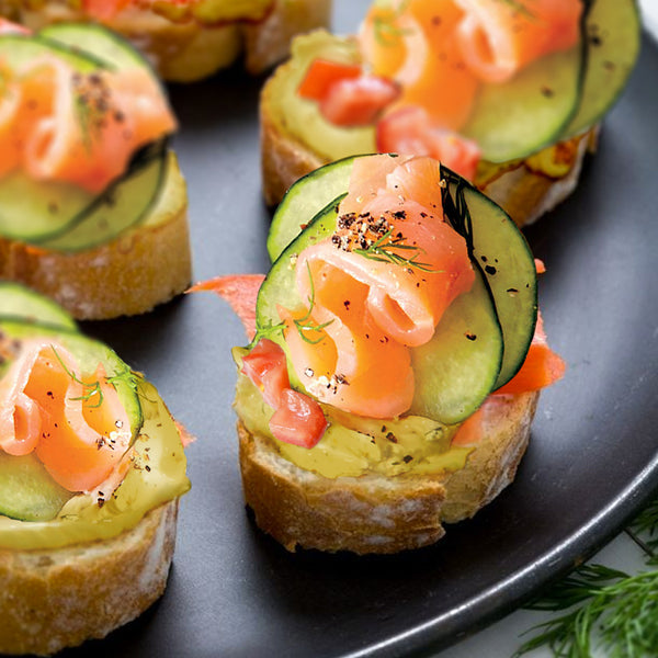 Salmon Crostini with Dill Honey Mustard