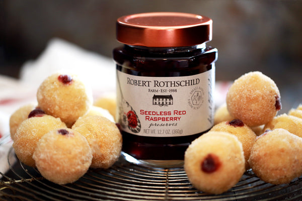 Raspberry Filled Caramel Donut Holes
