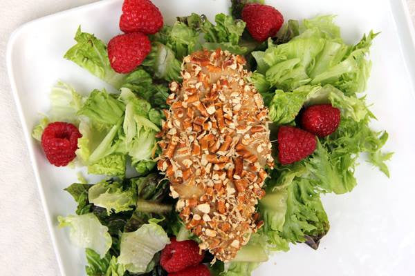 Raspberry Honey Mustard Pretzel Crusted Chicken Salad